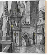 Bw Prague Charles Bridge 02 Wood Print by Yuriy  Shevchuk
