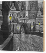 Bw Prague Charles Bridge 03 Wood Print by Yuriy  Shevchuk