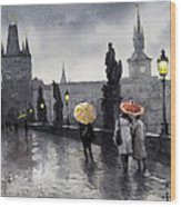 Bw Prague Charles Bridge 05 Wood Print