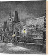BW Prague Charles Bridge 06 Wood Print