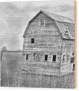 Bw Rustic Barn Lightning Strike Fine Art Photo Wood Print