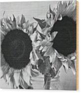Bw Sunflowers #002 Wood Print
