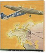 By Air To Ussr With The Soviet Union's Chief Cities - Vintage Poster Restored Wood Print