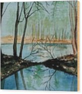 By River's Edge Wood Print