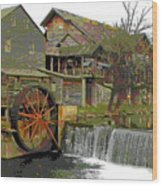 By The Old Mill Stream Wood Print by Larry Bishop