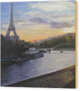 By The Seine Wood Print