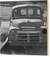 Bygone Dodge In Black And White Wood Print