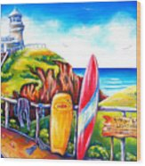Byron Bay Lighthouse Wood Print by Deb Broughton