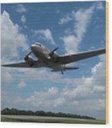 C-47 Dakota Low Pass Over Jekyll Island Airport. 2015 Wood Print