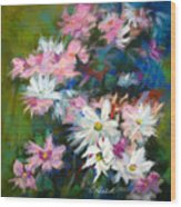C And D  Cosmos And Daisy That Is Wood Print