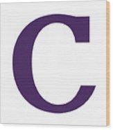 C In Purple Typewriter Style Wood Print