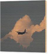 C130 Hercules Sunset 2 Wood Print