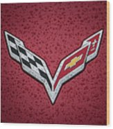 C7 Badge Red Wood Print