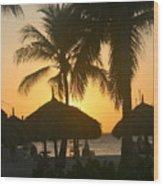 Cabana Sunset Wood Print