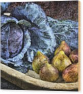Cabbage And Figs Wood Print