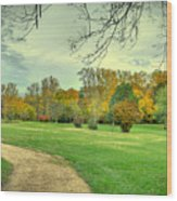 Cabin And Autumn Trees Wood Print