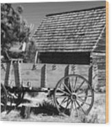 Cabin And Wagon Wood Print