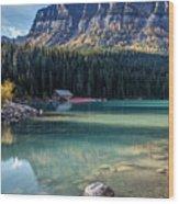 Cabin At Lake Louise Wood Print