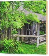 Cabin At The Top Mt Leconte Wood Print