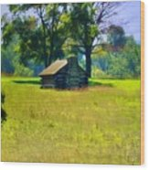 Cabin At Valley Forge Wood Print