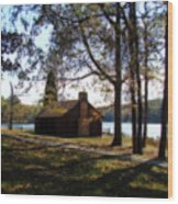 Cabin By The Lake Wood Print