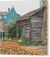 Cabin By The Tulips Wood Print