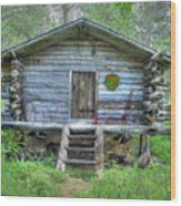 Cabin In Lapland Forest Wood Print