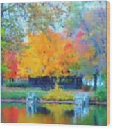 Cabin In The Park II Wood Print