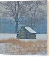 Cabin In The Snow - Valley Forge Wood Print