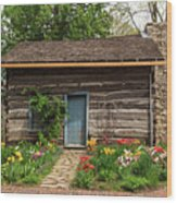 Cabin In The Tulip Patch Wood Print