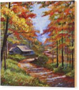 Cabin In The Woods Wood Print by David Lloyd Glover