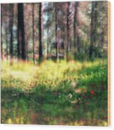 Cabin In The Woods In Menashe Forest Wood Print