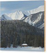 Cabin On Frozen Lake Wood Print