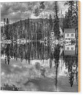 Cabin Reflection Wood Print