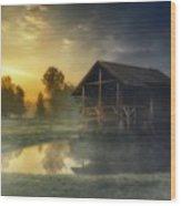 Cabin Sunrise Wood Print