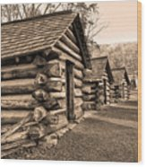 Cabins At Valley Forge In Sepia Wood Print