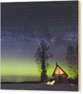 Cabins Glow Wood Print
