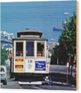 Cable Car 18 Heading Up The Hyde Street Line Wood Print