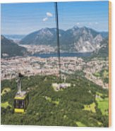 Cable Car Above The City Of Lecco Wood Print