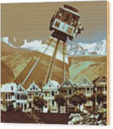 Cable Car Fly - San Francisco Collage Wood Print