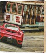 Cable Car Meets Ferrari Wood Print