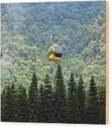 Cable Car Passes By A Mountain Slope Wood Print