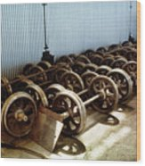 Cable Car Wheels, Repair Shop Wood Print