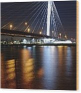 Cable-stayed Bridge Prins Clausbrug In Utrecht At Night 22 Wood Print
