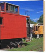 Caboose At Shelburne Trolley Museum Wood Print