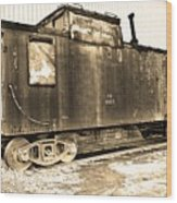 Caboose Black And White Wood Print