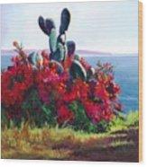 Cactus and Bougainvillea Wood Print