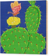 Cactus And Butterfly Wood Print