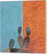 Cactus And Colorful Wall Wood Print