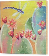 Cactus And Firefly Wood Print